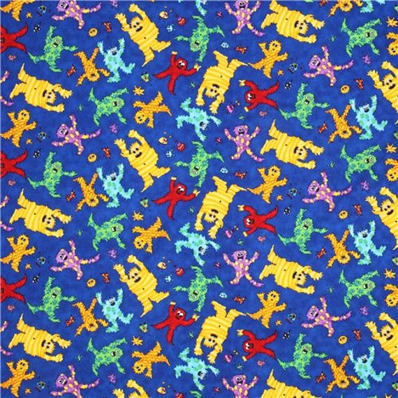 Monster mash fabric kids fabric juvenile by for Childrens quilt fabric