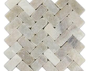 Hand Made Stone Tile - Mixed Quartz Herringbone Stone Mosaic Tile 1 sq. ft. - Use for Mosaics, Showers, Flooring, Backsplashes and More!