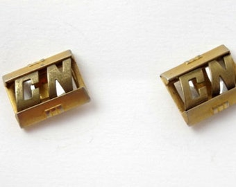 SWANK Vintage 1930s 40s Cufflinks CN Initial Letters Monogram Personalized