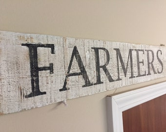 Wooden Farmers Market Sign, Reclaimed, Vintage