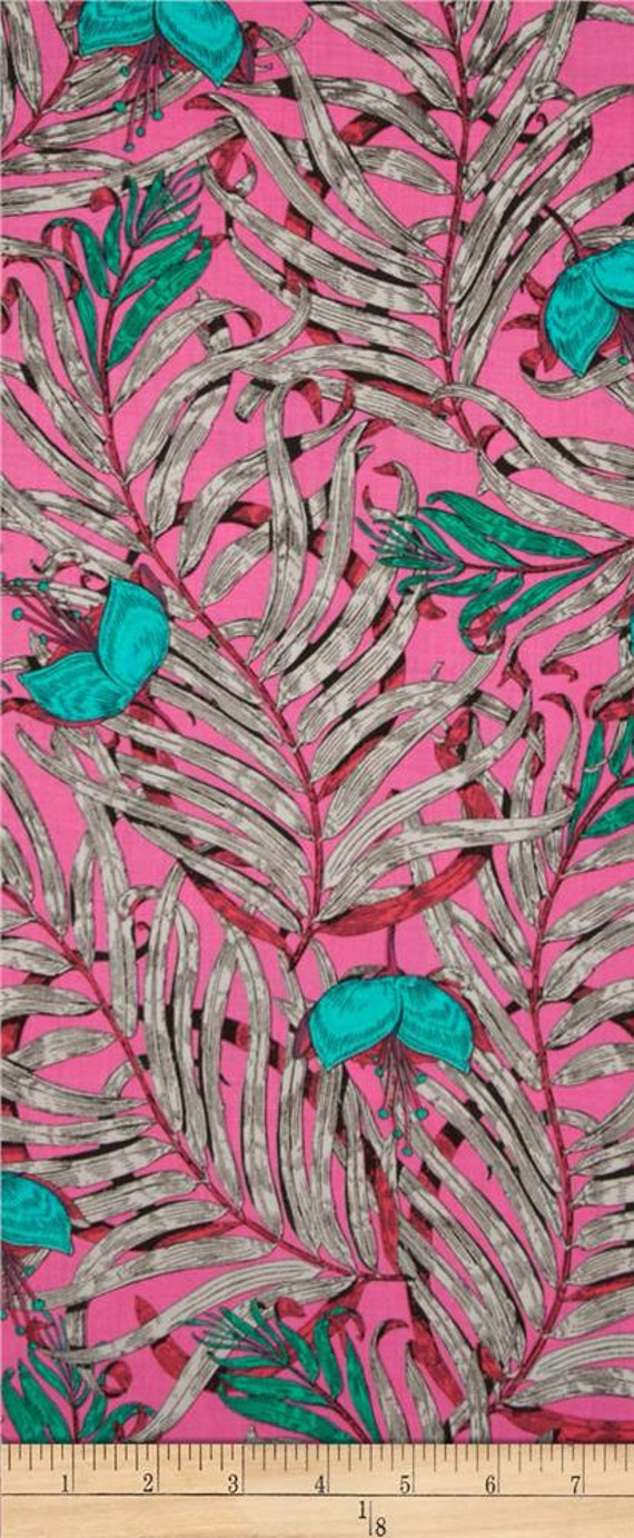 Free Spirit Studio KM Garden of Earthly Delights Teal (Pink)  1 yard remnant