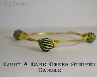 Light & Dark Green Striped Bangle