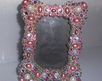 Pink and Clear Beaded photo frame ~