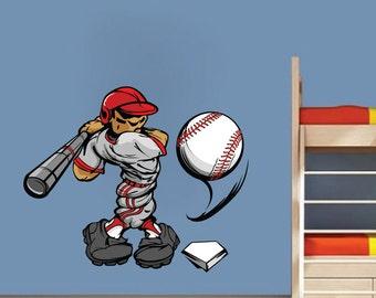 Baseball Decals, Room Baseball Batter Wall Art Mural, Baseball Wall Design, Baseball Wall Mural, Baseball Wall Decor, Baseball Wall Art, c97