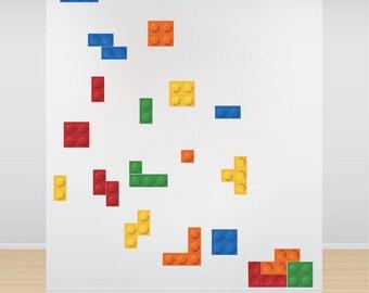 Play Room Tetris Wall Decals Tetris Modern Wallpaper Sticker Tetris Sticker Kids Room Wall Pops Tetris Wall Designs, Tetris Wall Decals, n50