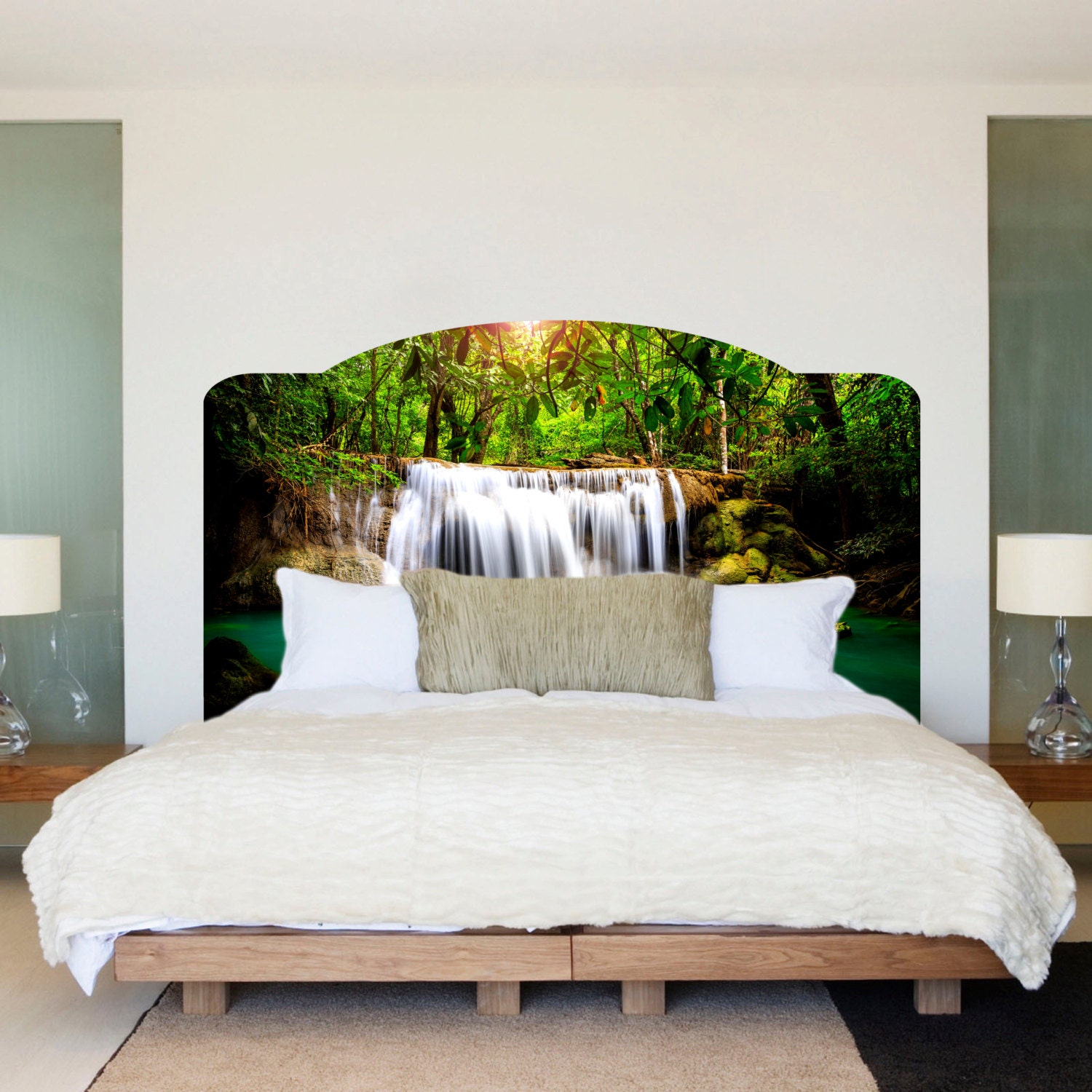 waterfall bed headboard wall mural waterfall headboard art ForMural Headboard