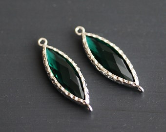 A2-103-R-EM] Emerald / 10 x 25mm / Rhodium plated / Marquise Glass Pendant / 1 piece