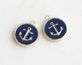 P1-413-G] Navy Epoxy Anchor Round / 12mm / Gold plated / Pendant / 2 piece(s)