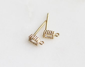 N3-030-G] 3 x 7mm / Gold Plated / Cz Cubic Rectangle Post Earring / 2 piece(s)