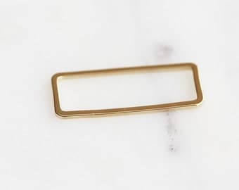K7-015-1-G] Rectangle / 10 x 24mm / Gold plated / Link / 4 piece(s)