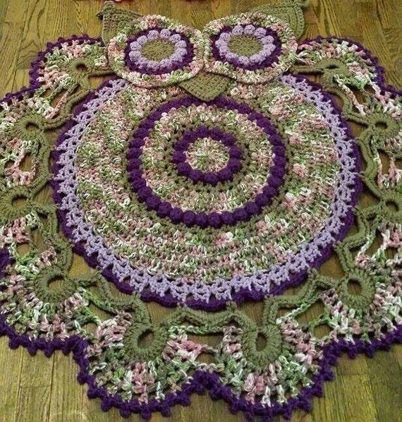 Crochet Owl Rug Pattern: Crocheted Owl Rug- Owl Rug-purple Rug- Kids Room-area Rug