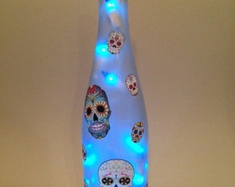 Sugar Skull Wine Bottle Light (in your color choice)