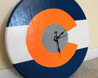 Colorado Flag Clock in Broncos color theme