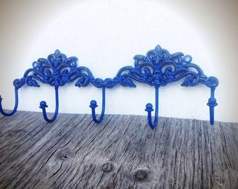 BOLD cobalt blue ornate towel hook // Victorian vintage inspired // cottage chic // wall hook // shabby chic // keys hook