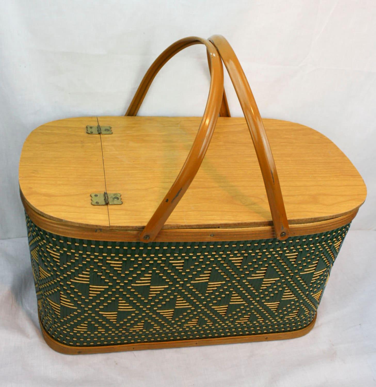 Woven Basket With Hinged Lid : Vintage s woven basket hamper hinged lid handles picnic