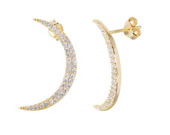 Earrings Moon Silver 925 Goldplated with zircons