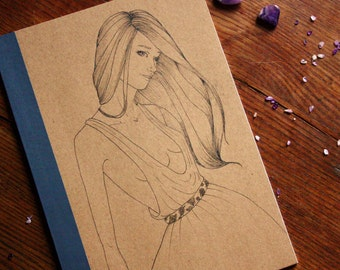 Hand Illustrated Notebook, Blank Journal or Diary-fashion girl