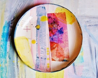 Colourful contemporary ceramic plate/art/display piece,Titled 'Matches'.