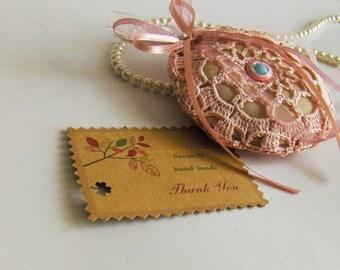 Crochet lavender sachet, organza, light pink, drawer lavender sachet, pouch, handmade, gift