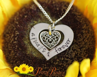 Always & Forever Hand Stamped Heart Necklace Charm - Personalized Handmade Necklace Just for Her - Silver Heart Custom Necklace