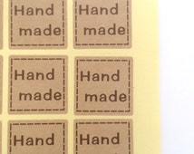 Hand Made stickers, Kraft stickers, Square stickers, 40 stickers, scrapbooking, packaging, cute stickers, happy packaging