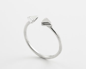 Open triangle ring. triangle silver ring.