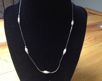 Vintage Silvertone Necklace with Faux Pearl Beaded Design, Length 18''