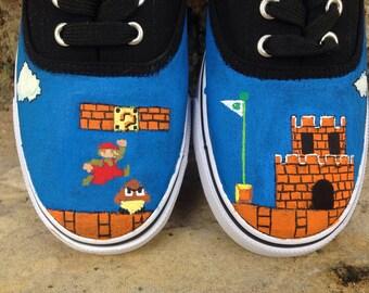 Mario Game hand painted mens shoes. Old school retro video game fan art sneakers. Custom Nintendo cartoon boys