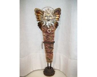 Sun Man Original Art Doll, Found Objects Sculpture, Butterfly Wings, Steampunk Art Doll, Original Sculpture