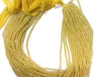 1 Strand Yellow Cubic Zirconia Rondelle – Beads Measure 3-4mm 13.5 inch long Strand