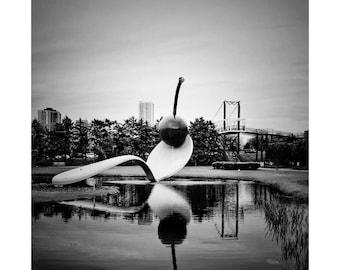 SpoonBridge and Cherry/Minneapolis Sculpture Garden/skyline/Minneapolis/black & white photography/Minnesota/Walker Art Center