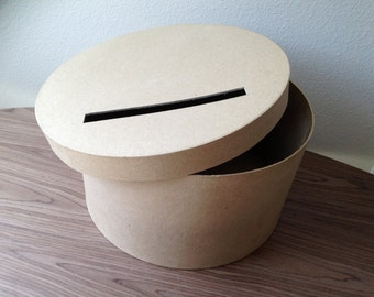 DIY card box, rustic card box , wedding card box (Round)