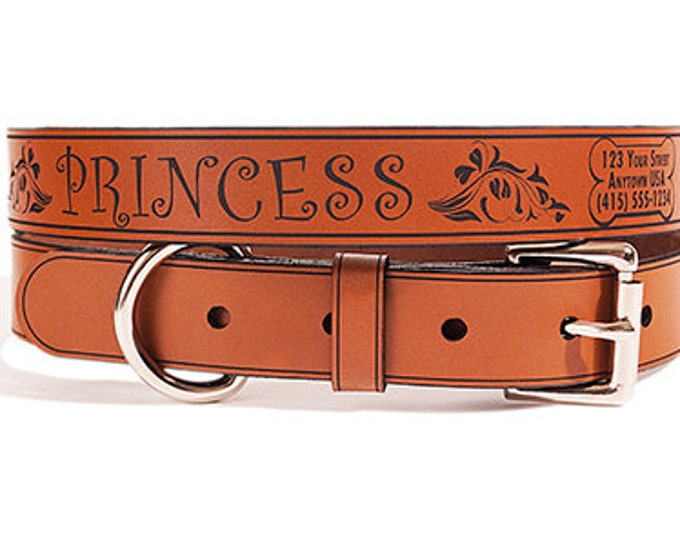 Personalized Leather ID Dog Collar, Medium Size, Princess Design, Name & Contact Info Engraved FREE