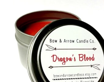 2 oz Natural Soy Candle Dragon's Blood Scented | 2 oz Candle Tin | Dragon's Blood Scented | Herbal Candle | Patchouli Candle | Gift Idea