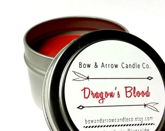 4 oz Natural Soy Candle Dragon's Blood Scented | 4 oz Candle Tin | Dragon's Blood Scented | Herbal Candle | Patchouli Candle | Gift Idea
