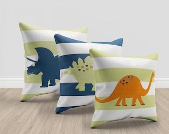dinosaur throw pillows, green, orange and blue throw pillows, dinosaur bedroom throw pillow set, dinosaur bedroom pillow set, dino pillows
