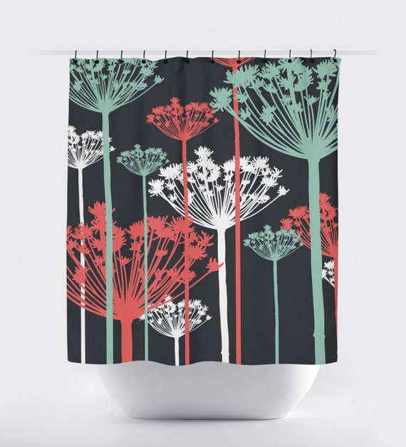 Coral Mint Flower Fabric Shower Curtain High Quality Fabric