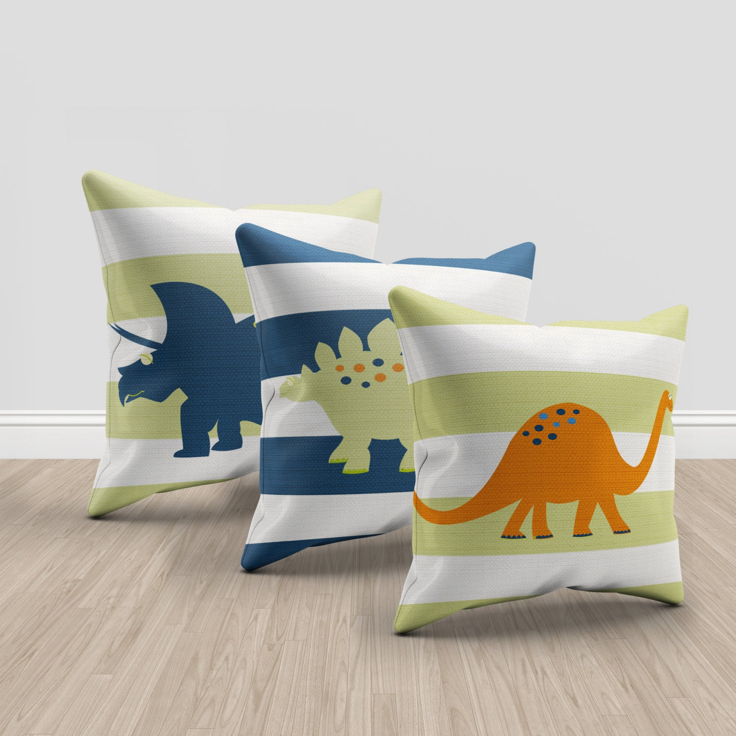 Etsy Throw Pillow Sets : dinosaur throw pillows green orange and blue throw pillows