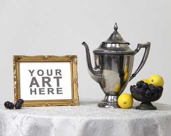 Styled Table Frame Mock-Up - Gold Frame with Silver Tea Pot and Fruit