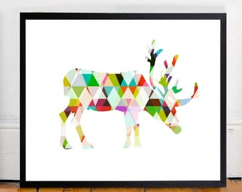 Moose Art, Printable Art, Moose Print, Wall Art, Moose Decor, Geometric Print, Instant Download, Geometric Animal Print, Wall Decor