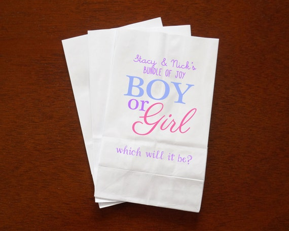 baby shower favor bags gender reveal popcorn candy buffet