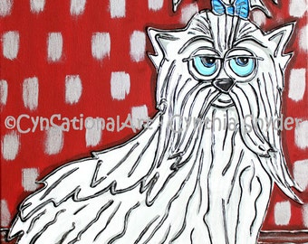 "Original Dog Painting ""Magnificent Maltese"" (with  Blue Bow) 16 x 20 Stretched Canvas"