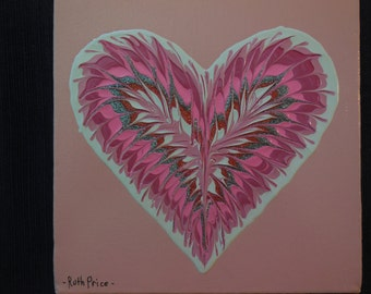 Unique Handpainted Pink Heart on 6x6 Canvas