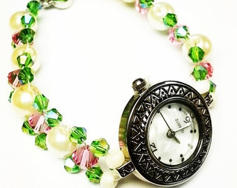 Pink, Green and Pearl Bead Woven Watch Bracelet