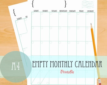 Empty Monthly Calendar