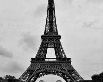 "Eiffel Tower Photo, Paris, Black and White, ""The Eiffel Field"""