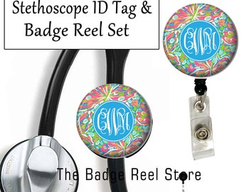 Retractable ID Badge Holder & Stethoscope ID Tag, Preppy, Crash Landing
