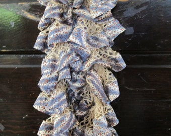 Blue Cheetah Ruffle Scarf, Birthday Gift, Gifts for her, Gifts for Mom, Gifts for Sister, Unique gifts for Women, Gifts for friend