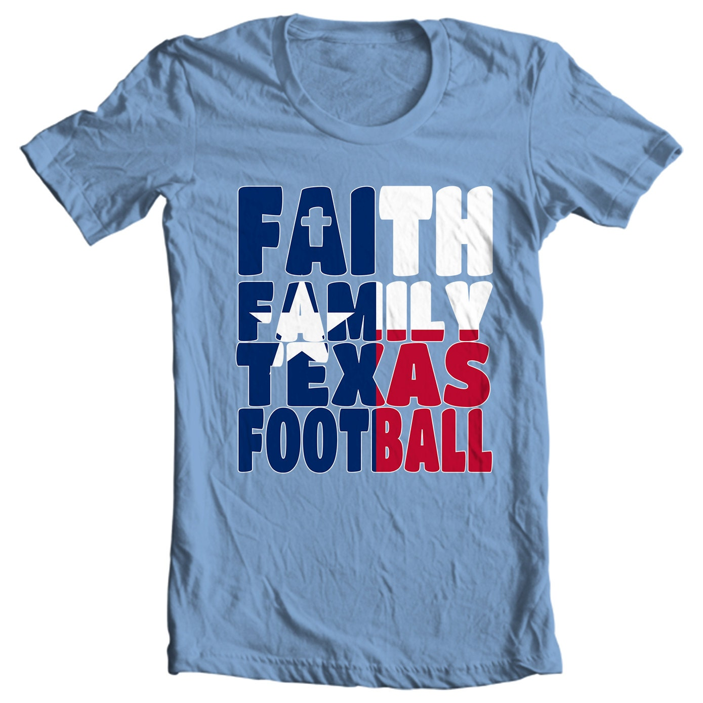 Texas T-shirt - Faith, Family Texas Football - My State Texas T-shirt