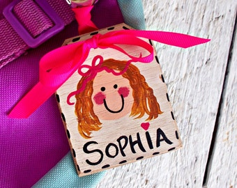 Girls Personalized Backpack Tag, Kids Bag Tag, Name Luggage Tag, Wood Name Tag, Back to School Bag